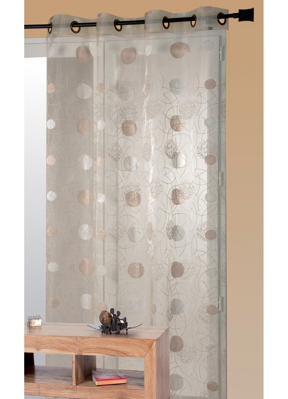 voilage organza et jacquard cordons satin ivoire blanc gris taupe homemaison. Black Bedroom Furniture Sets. Home Design Ideas