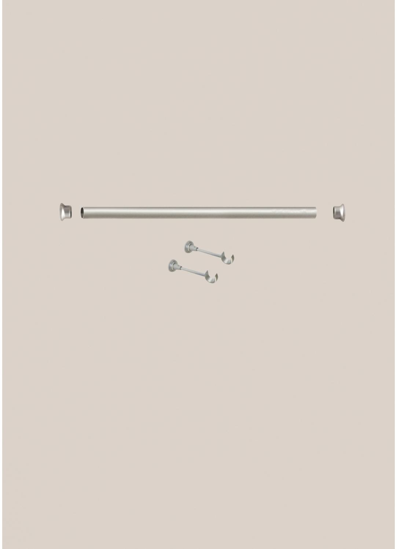 Kit de Tringle 1 m 50 nickel matt diam 28 mm (Nickel)