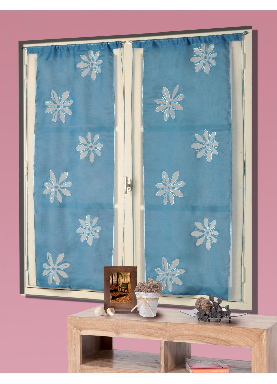 Vitrage Etamine et Organza Fleurs Brodées (Bleu/Blanc)