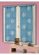 Vitrage Etamine et Organza Fleurs Brodées Bleu/Blanc