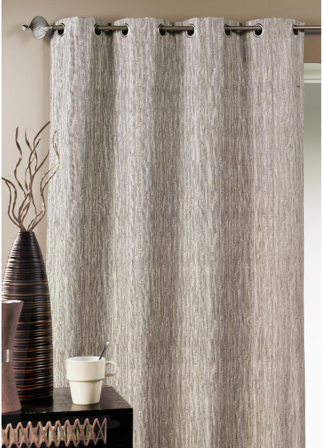 Double rideau ameublement faux uni taupe prune for Rideau taupe