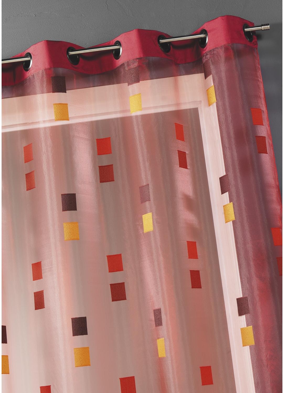 Voilage Organza Jacquard avec parement taffetas (Bordeaux)