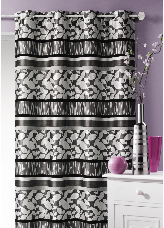 double rideau jacquard feuillage rouge moka. Black Bedroom Furniture Sets. Home Design Ideas
