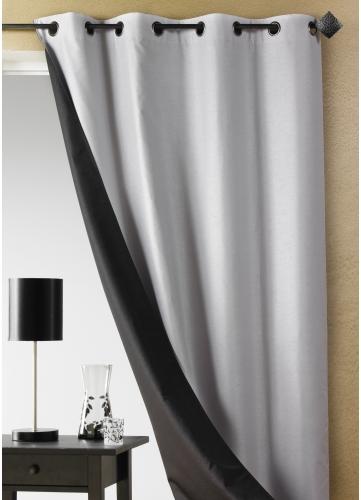 rideau double face shantung uni gris bordeaux bleu. Black Bedroom Furniture Sets. Home Design Ideas
