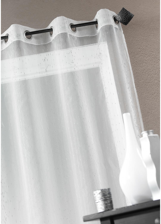 Voilage Organza fantaisie goutte métallique (Blanc)