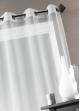 Voilage Organza fantaisie goutte métallique  Blanc