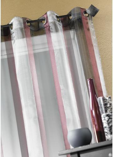 Voilage Organza rayure verticale (Bordeaux)