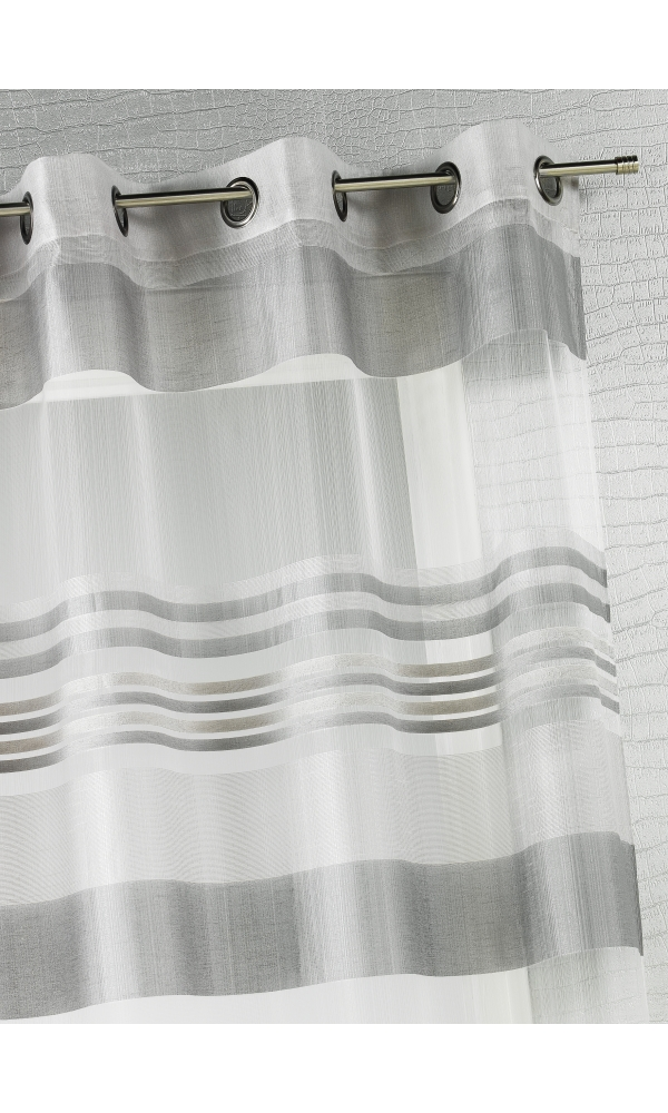 Voilage Organza rayures horizontales tissées - Gris - 140 x 240 cm
