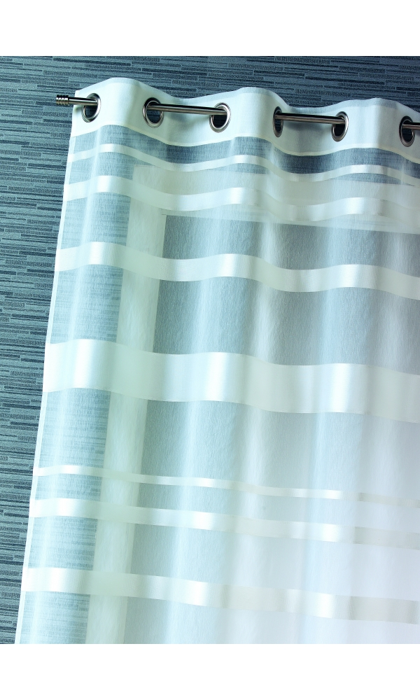 Voilage rayures horizontales - Blanc - 140 x 240 cm