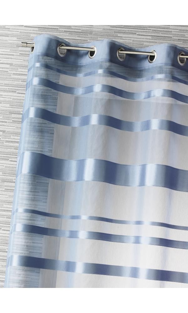 Voilage rayures horizontales - Bleu - 140 x 240 cm