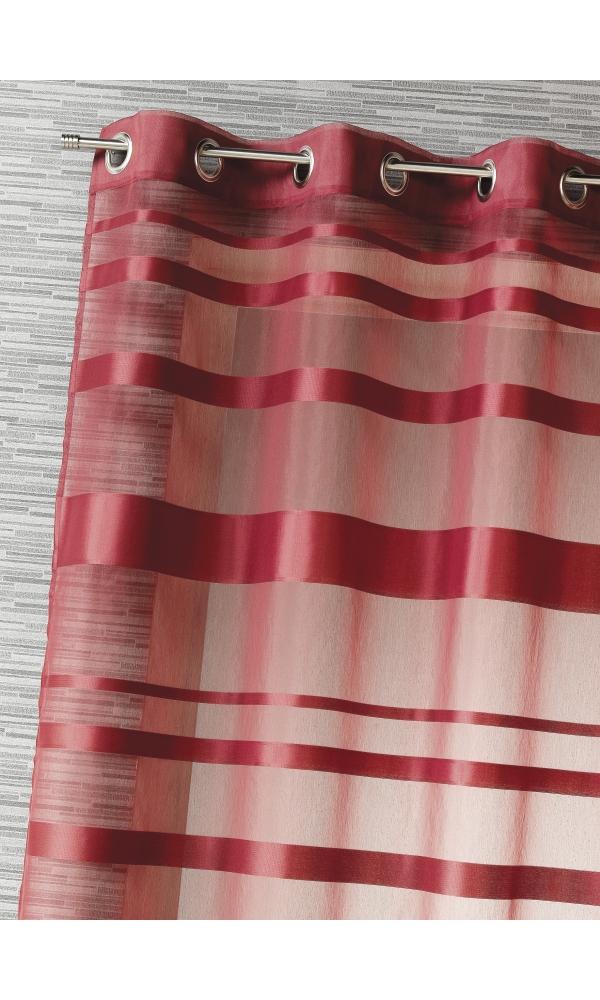 Voilage rayures horizontales - Bordeaux - 140 x 240 cm
