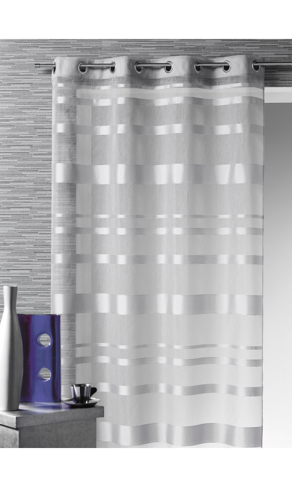 voilage rayures horizontales gris blanc bordeaux ivoire anis bleu lin. Black Bedroom Furniture Sets. Home Design Ideas