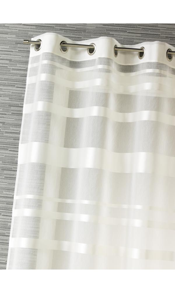 Voilage rayures horizontales - Ivoire - 140 x 240 cm
