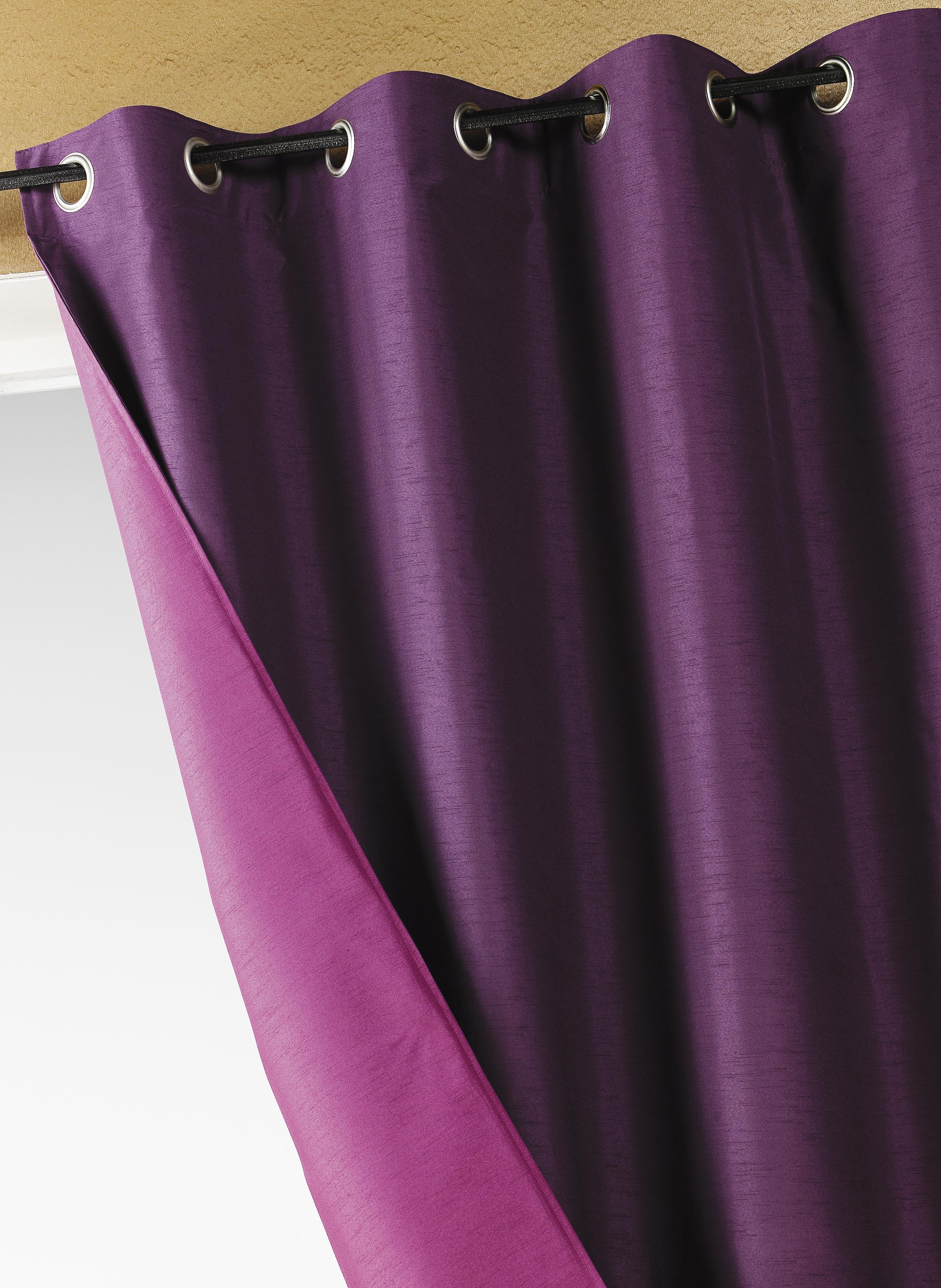 rideau double face shantung uni prune homemaison vente en ligne rideaux. Black Bedroom Furniture Sets. Home Design Ideas