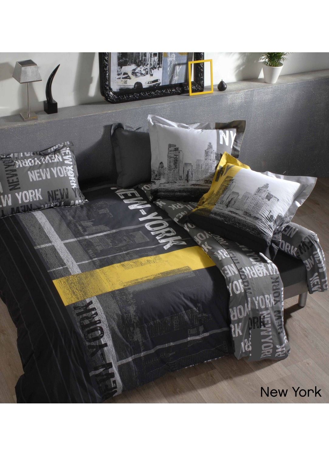 Housse de couette new york imprim s gris for Drap housse new york