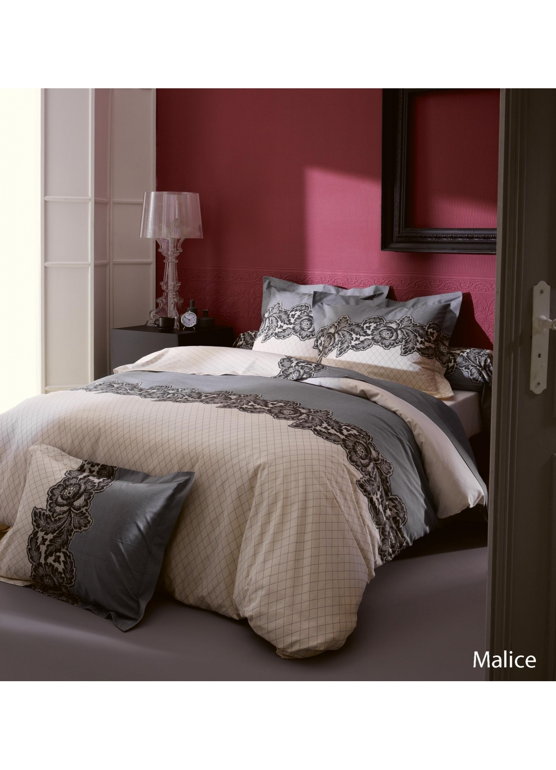 taie d oreiller malice imprim s dentelle gris homemaison vente en ligne taies d. Black Bedroom Furniture Sets. Home Design Ideas