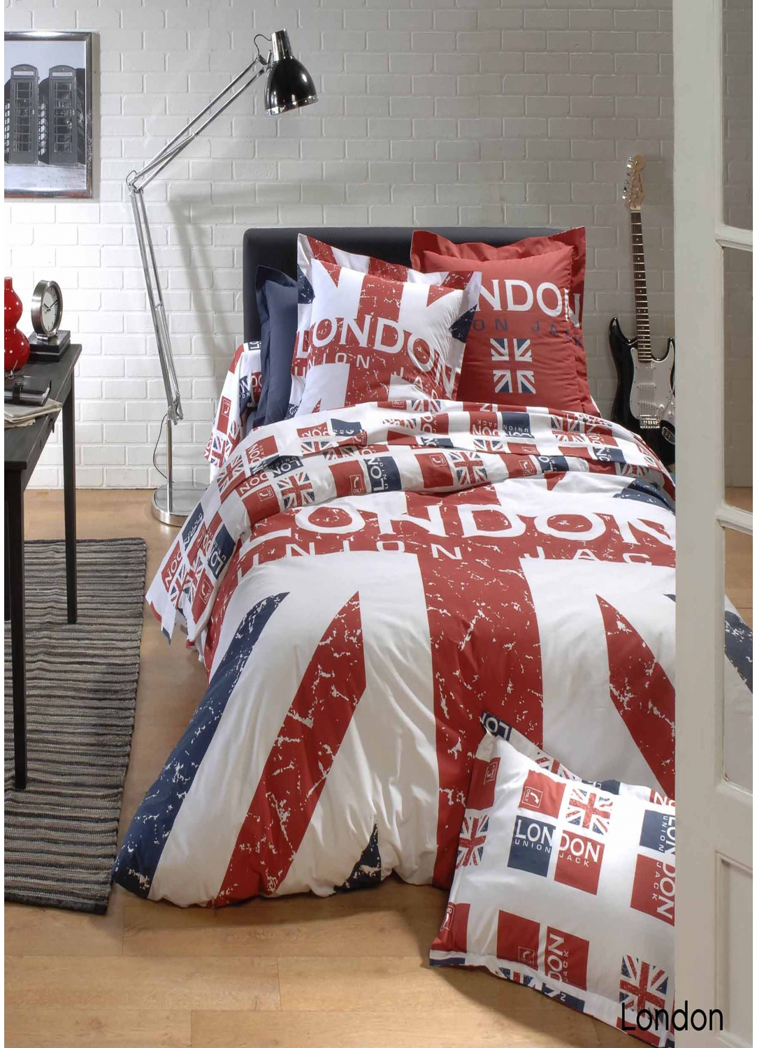 housse de couette london imprim s union jack rouge homemaison vente en ligne housses. Black Bedroom Furniture Sets. Home Design Ideas
