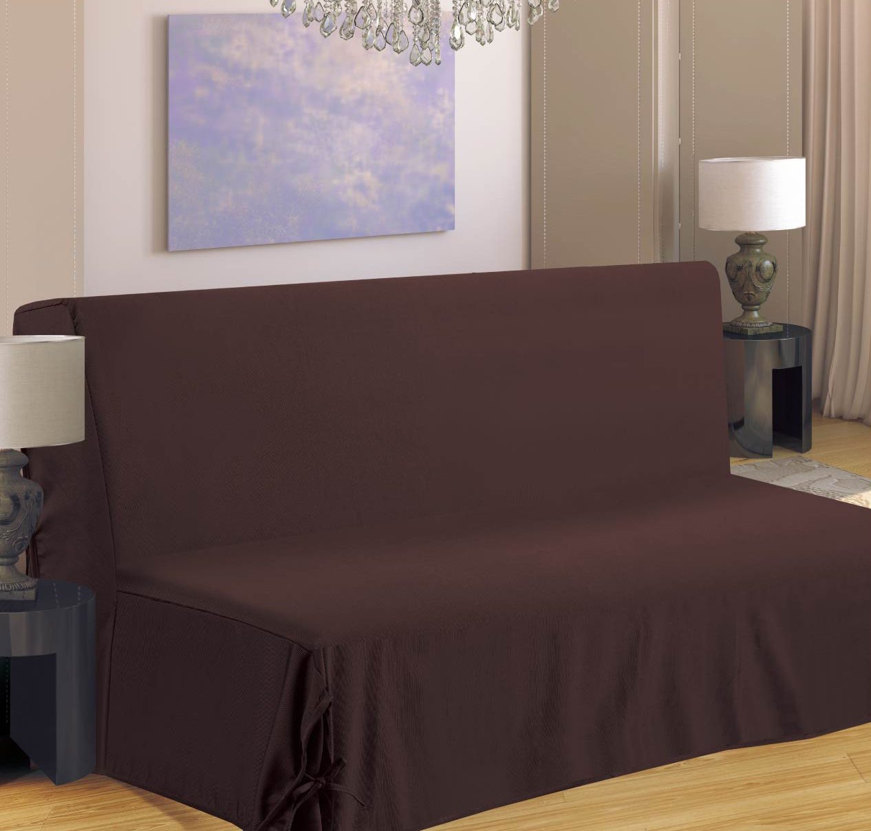 housse de canap pour bz chocolat bordeaux beige taupe gris violet homemaison. Black Bedroom Furniture Sets. Home Design Ideas