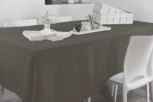 Nappe Rectangulaire en Coton 100% Recyclé (Anthracite)