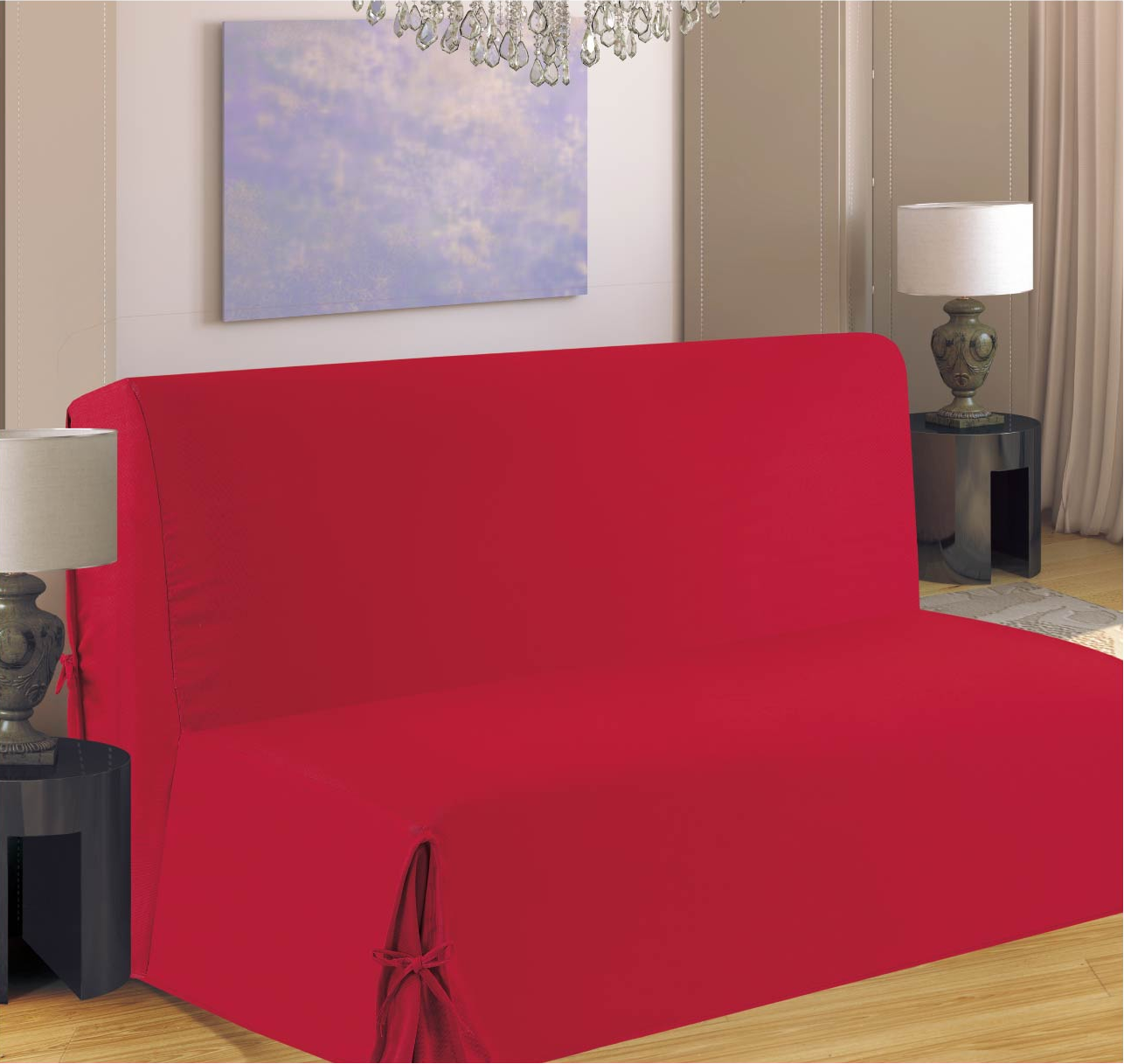 housse de clic clac nouettes rouge rouge homemaison. Black Bedroom Furniture Sets. Home Design Ideas