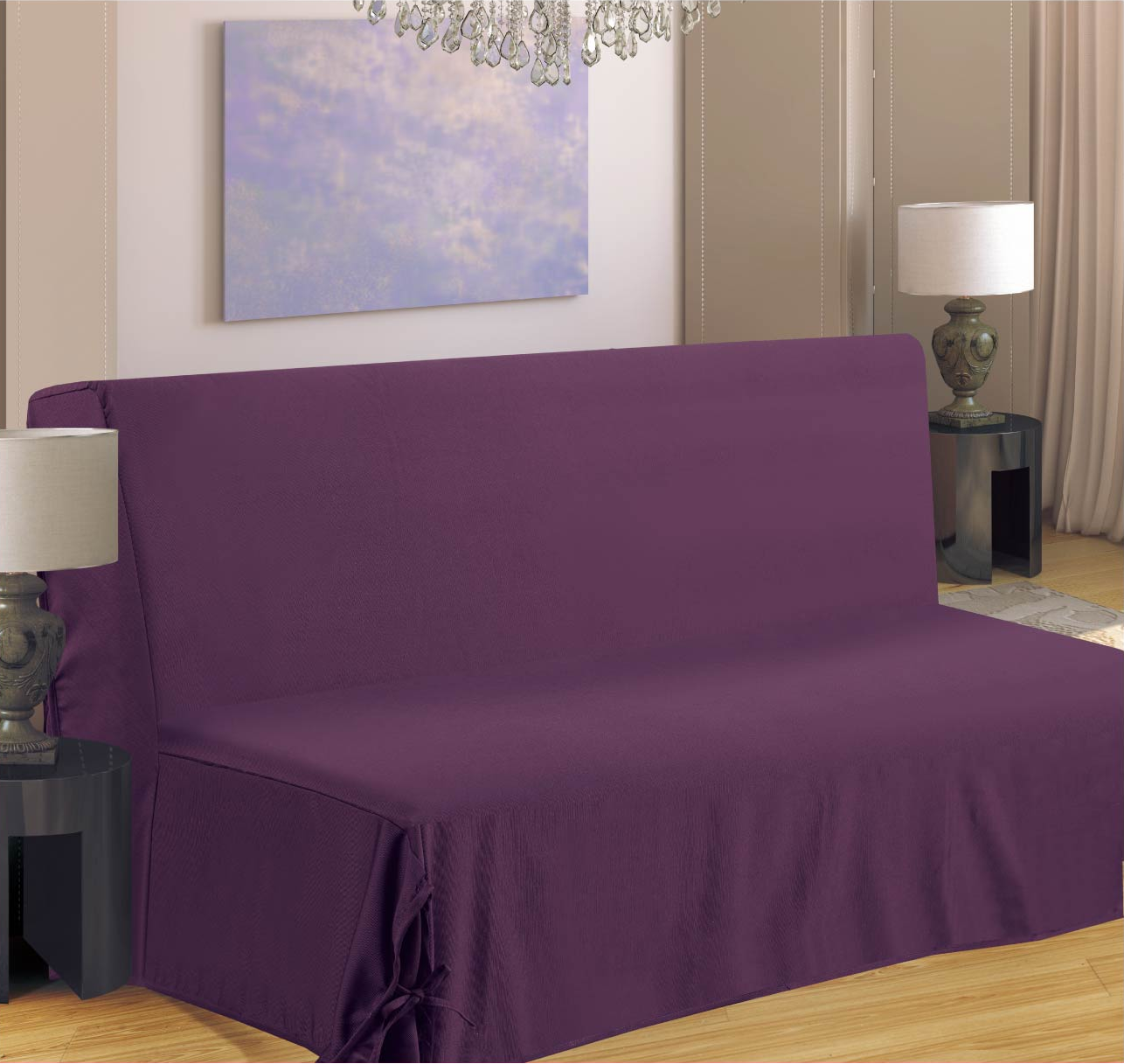 housse de clic clac nouettes violet violet homemaison vente en ligne housses de clic clac. Black Bedroom Furniture Sets. Home Design Ideas