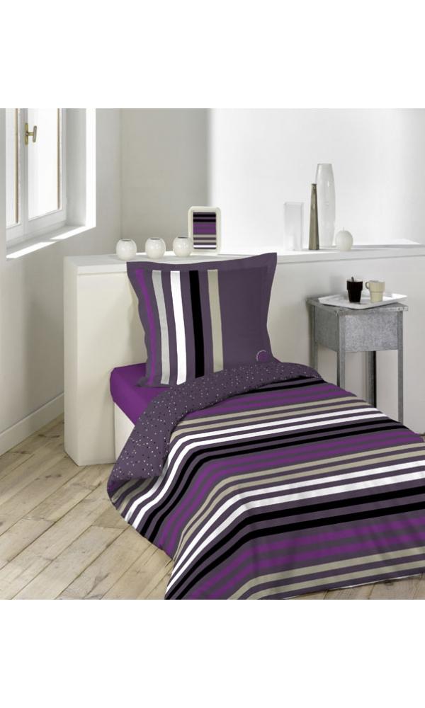 parure de couette 140x200cm lulu trendy violet homemaison vente en ligne parures de lit. Black Bedroom Furniture Sets. Home Design Ideas
