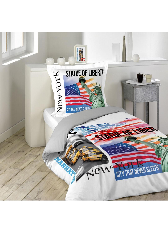 parure de lit imprim e new york card multicolore avec. Black Bedroom Furniture Sets. Home Design Ideas
