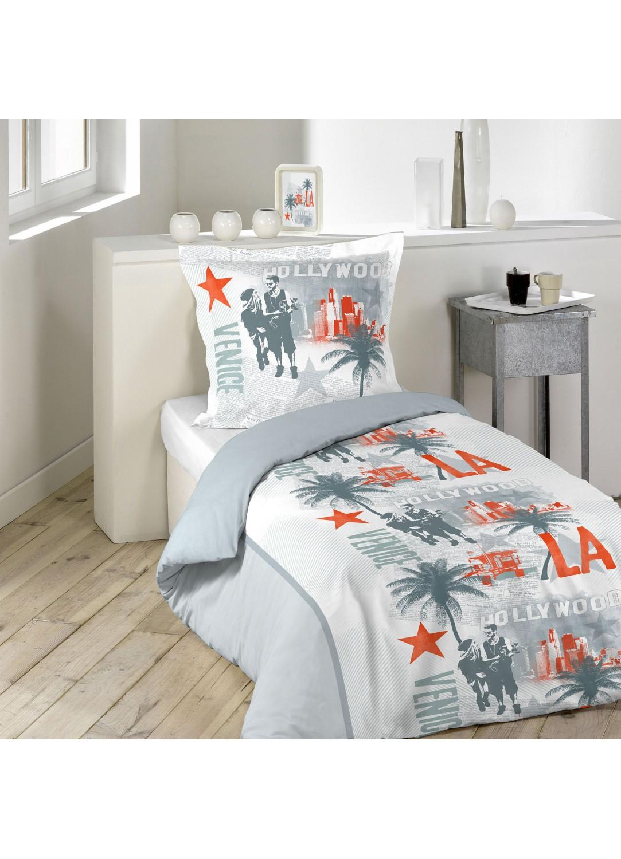 parure de lit imprim e hollywood blanc gris homemaison vente en ligne parures de lit. Black Bedroom Furniture Sets. Home Design Ideas