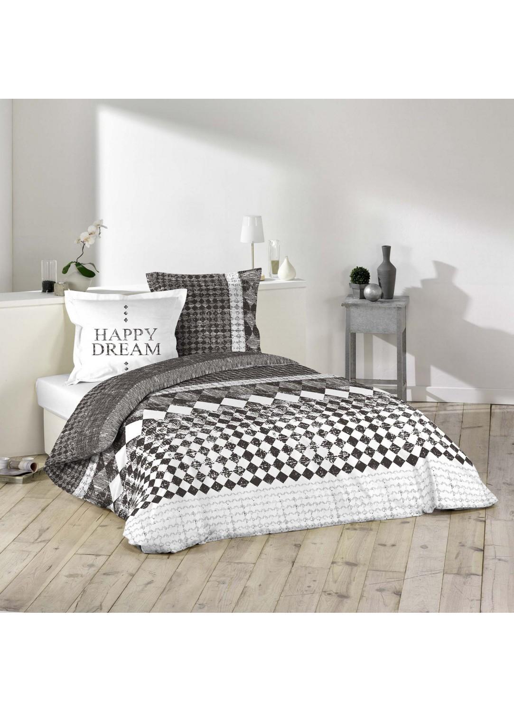 parure de lit imprim e 2 personnes happy dream blanc noisette homemaison vente en. Black Bedroom Furniture Sets. Home Design Ideas