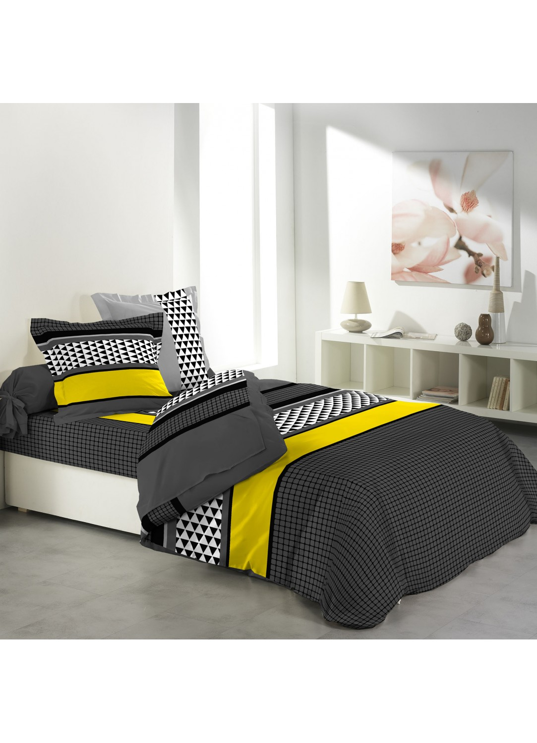 parure de lit 4 pi ces imprim e avec drap plat 2 personnes. Black Bedroom Furniture Sets. Home Design Ideas