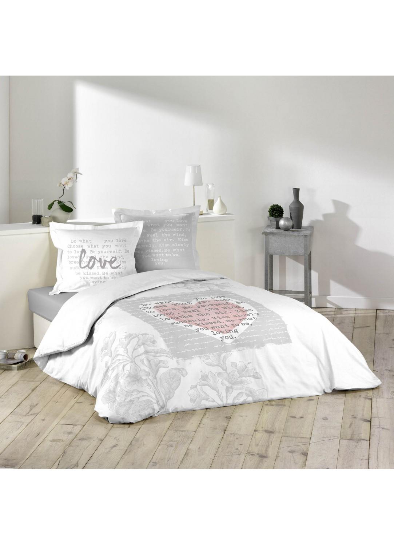 parure de lit imprim e 2 personnes lova blanc gris homemais. Black Bedroom Furniture Sets. Home Design Ideas