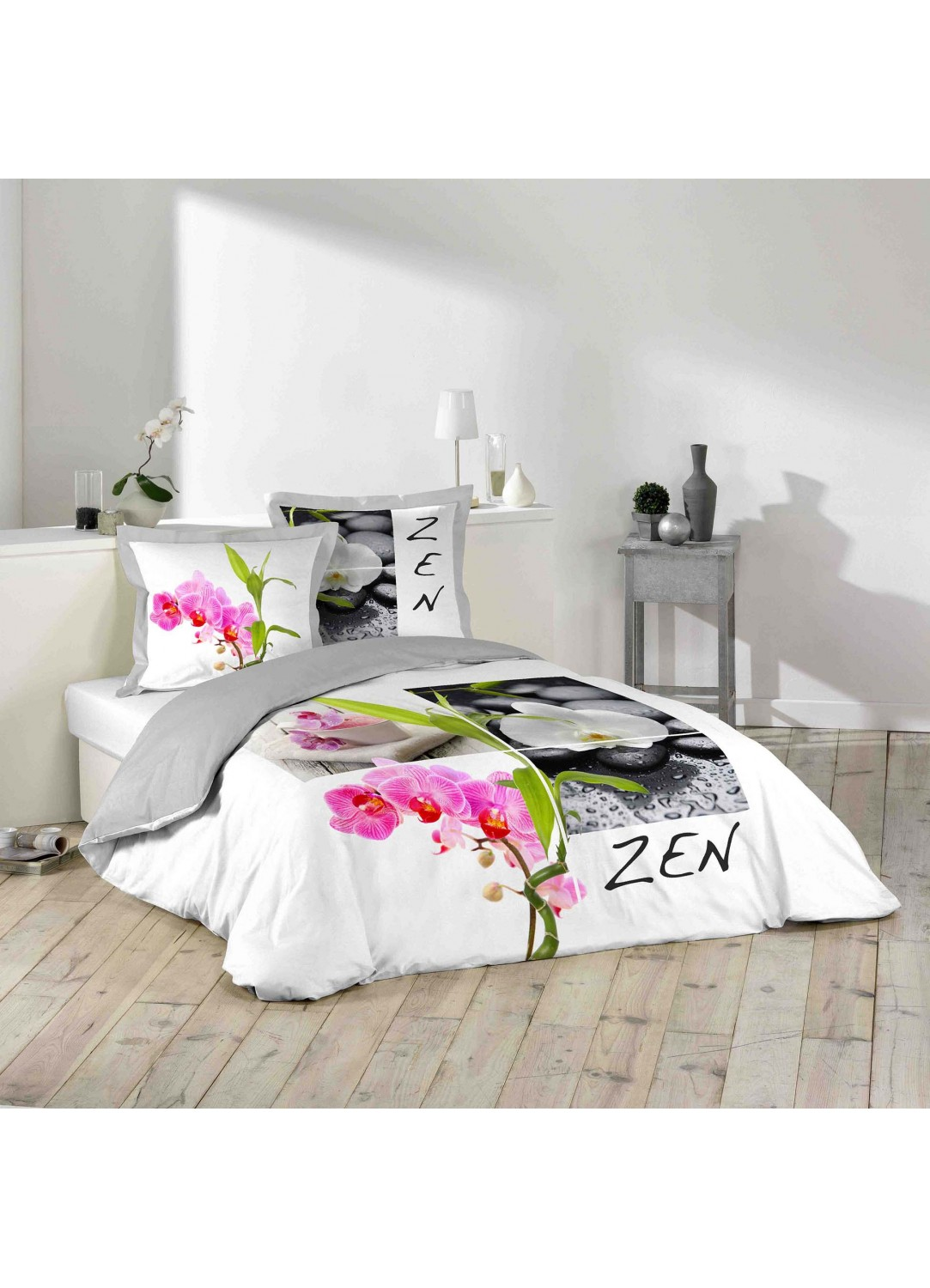 parure de lit imprim e 2 personnes zen blanc et gris homemaison vente en ligne parures. Black Bedroom Furniture Sets. Home Design Ideas