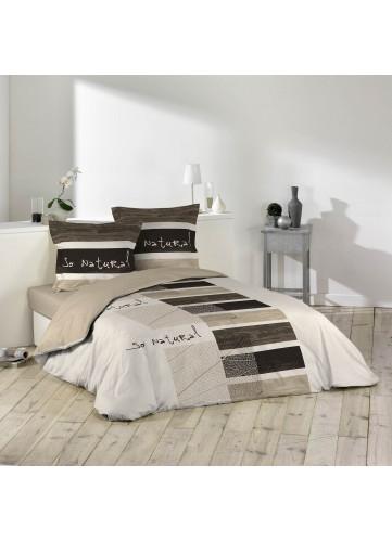 Parure de lit imprimée 2 personnes So natural - blanc / beige - 240 x 220 cm
