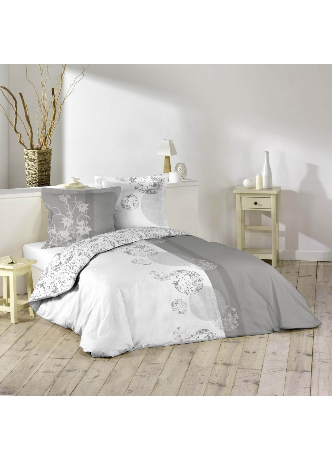 parure de lit imprim e 2 personnes bubbles blanc et. Black Bedroom Furniture Sets. Home Design Ideas