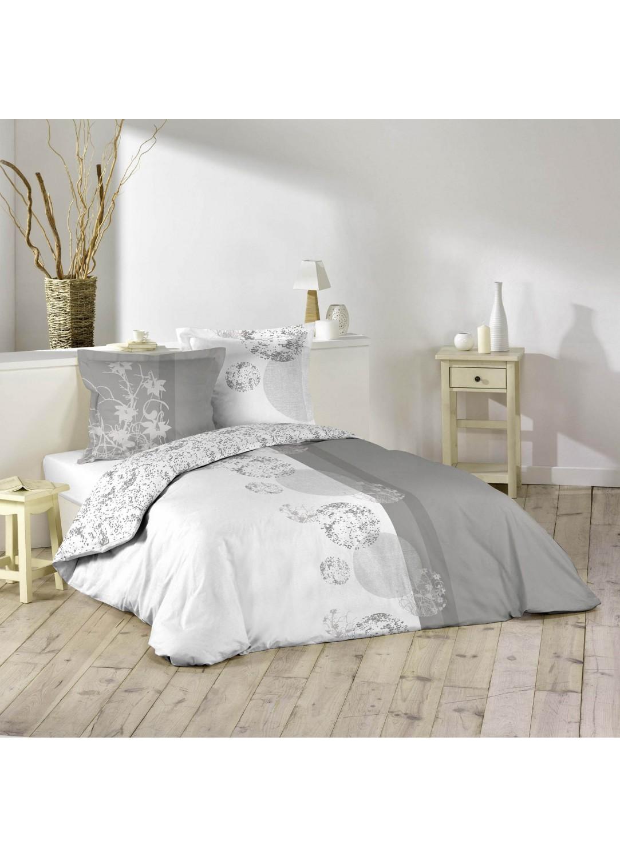 parure de lit imprim e 2 personnes bubbles blanc et gris home. Black Bedroom Furniture Sets. Home Design Ideas
