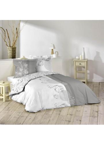 Parure de lit imprimée 2 personnes Bubbles - Blanc et Gris - 240 x 220 cm
