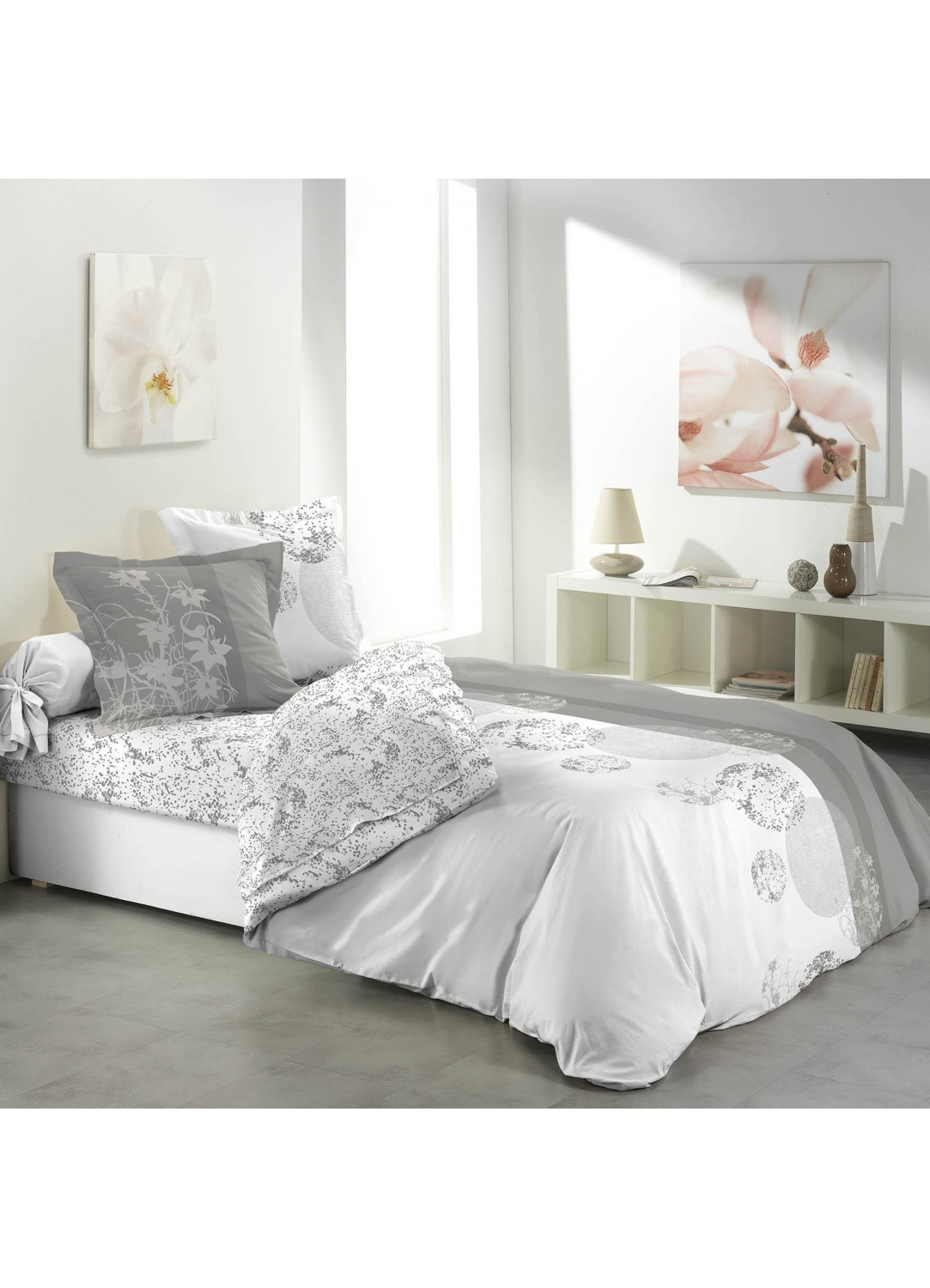 parure de lit 4 pi ces imprim e avec drap plat bubbles blanc et gris homemaison vente. Black Bedroom Furniture Sets. Home Design Ideas