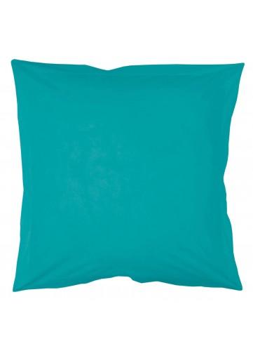 Taie d'oreiller unie avec point bourdon ton sur ton Lina - Bleu Outremer - 63 x 63 CM