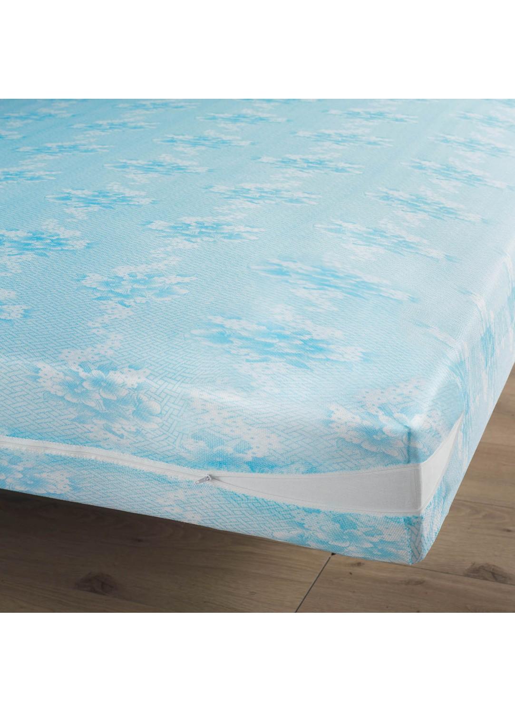 r nove matelas en maille extensible rena blanc bleu. Black Bedroom Furniture Sets. Home Design Ideas