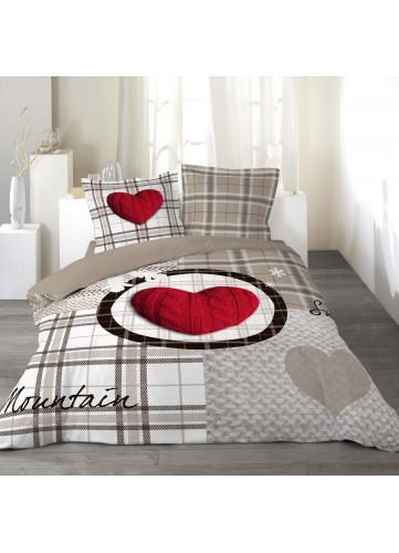 Parure de lit imprimée 2 personnes Love mountain - Taupe Grisé - 240 x 220 cm