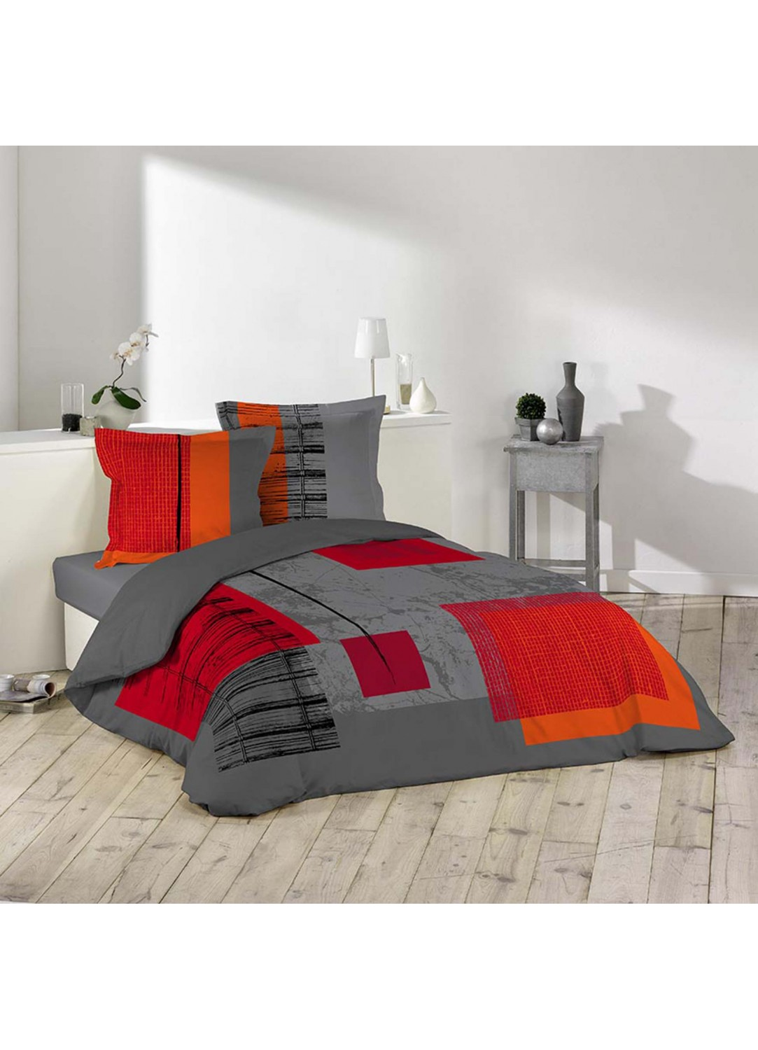parure de lit 2 personnes quadro gris rouge. Black Bedroom Furniture Sets. Home Design Ideas