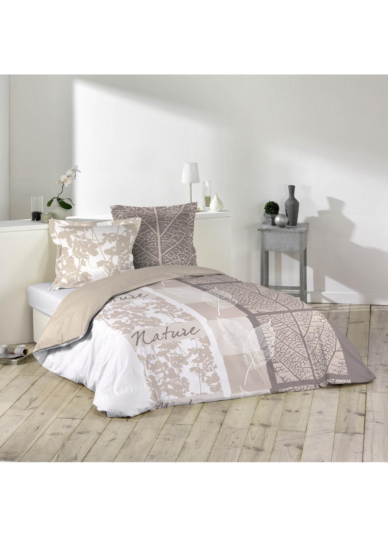 parure de lit 2 personnes douce nature blanc beige. Black Bedroom Furniture Sets. Home Design Ideas