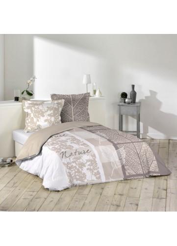 Parure de lit 2 personnes Douce nature - blanc / beige - 240 x 220 cm