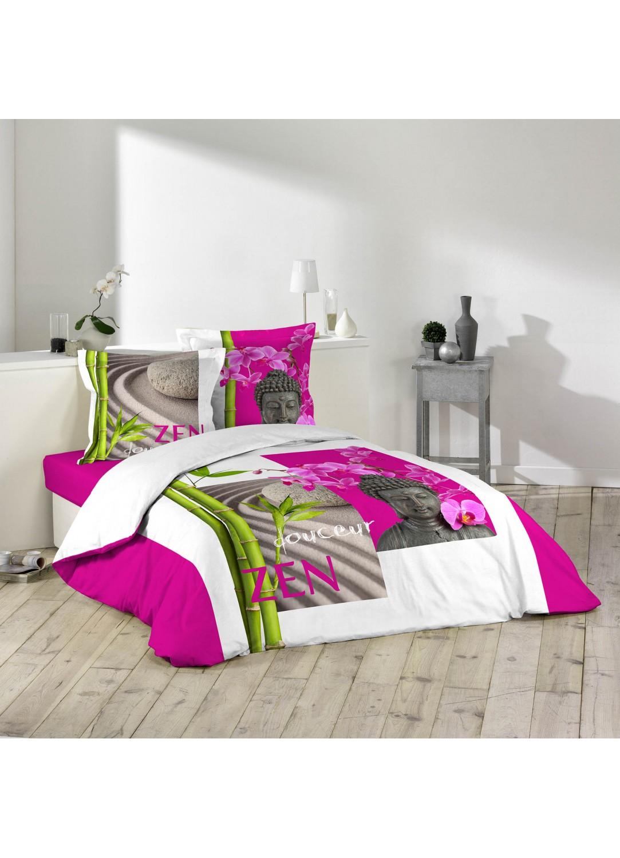 parure de lit imprim e douceur zen blanc fuschia. Black Bedroom Furniture Sets. Home Design Ideas