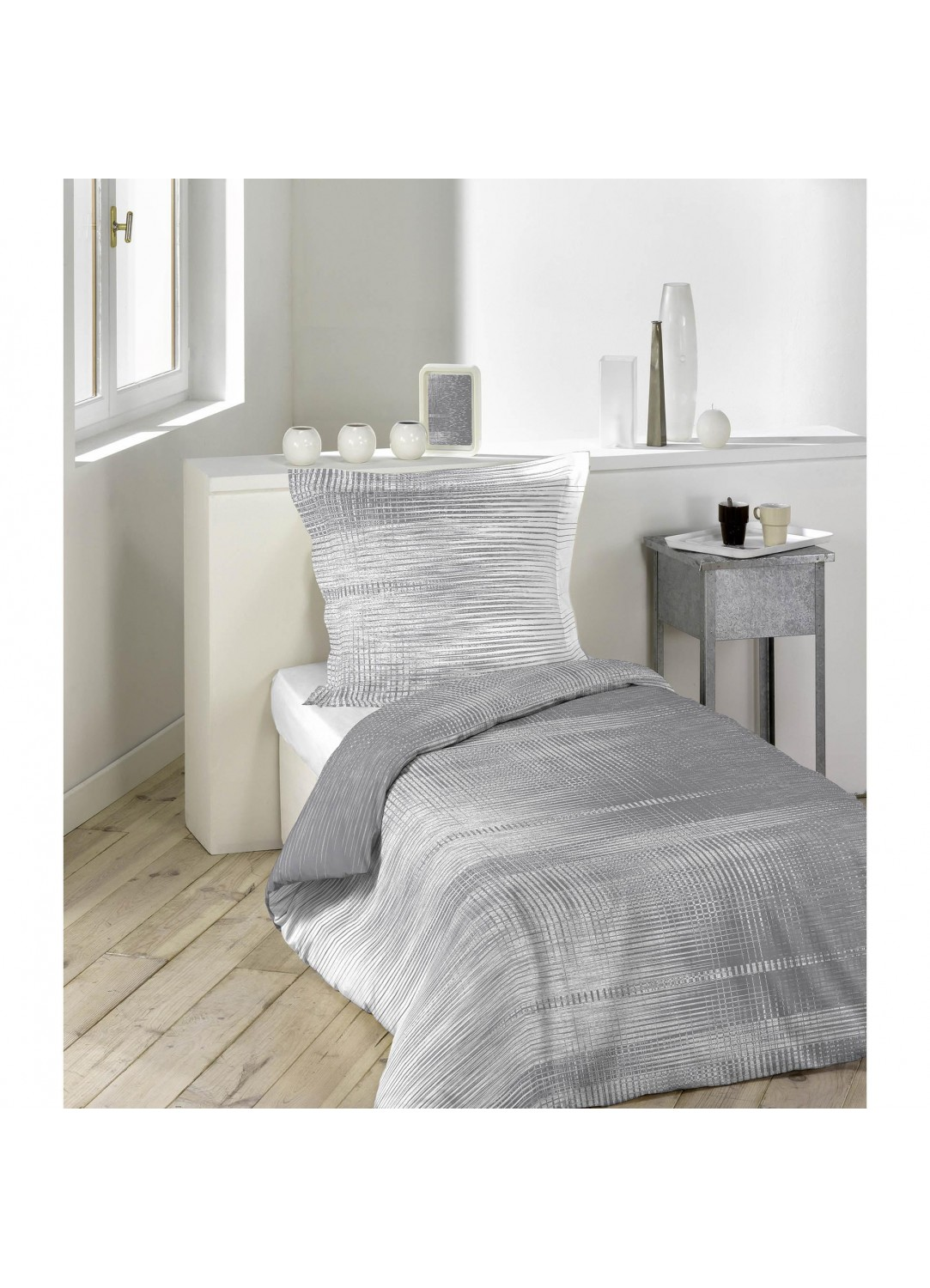 parure de lit imprim e grimo gris blanc homemaison vente en ligne parures de lit. Black Bedroom Furniture Sets. Home Design Ideas