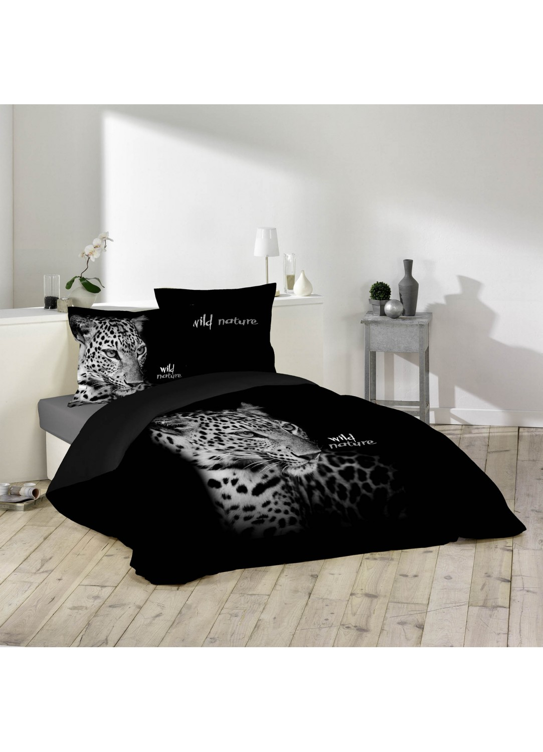parure de lit imprim e place wild nature noir. Black Bedroom Furniture Sets. Home Design Ideas