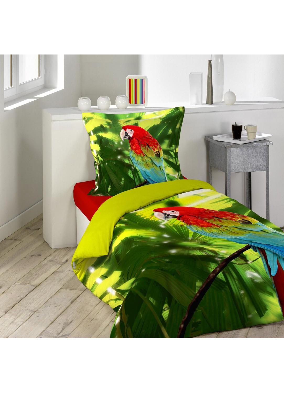 parure de lit imprim e 1 personnes coco vert homemaison vente en ligne parures de lit. Black Bedroom Furniture Sets. Home Design Ideas