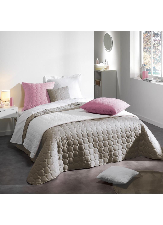 couvre lit 2 personnes en microfibre unie lin drag e. Black Bedroom Furniture Sets. Home Design Ideas