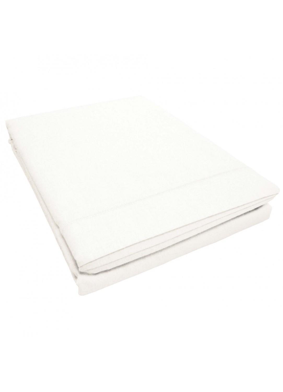 Drap plat uni 2 personnes en 240 x 300 cm Lina + point bourdon (Blanc)