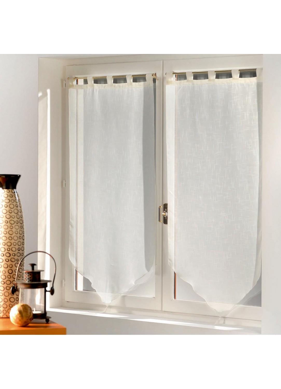 Paire de voilage pompons en luminette 60 x 90 cm blanc for Voilage cuisine 60 x 90